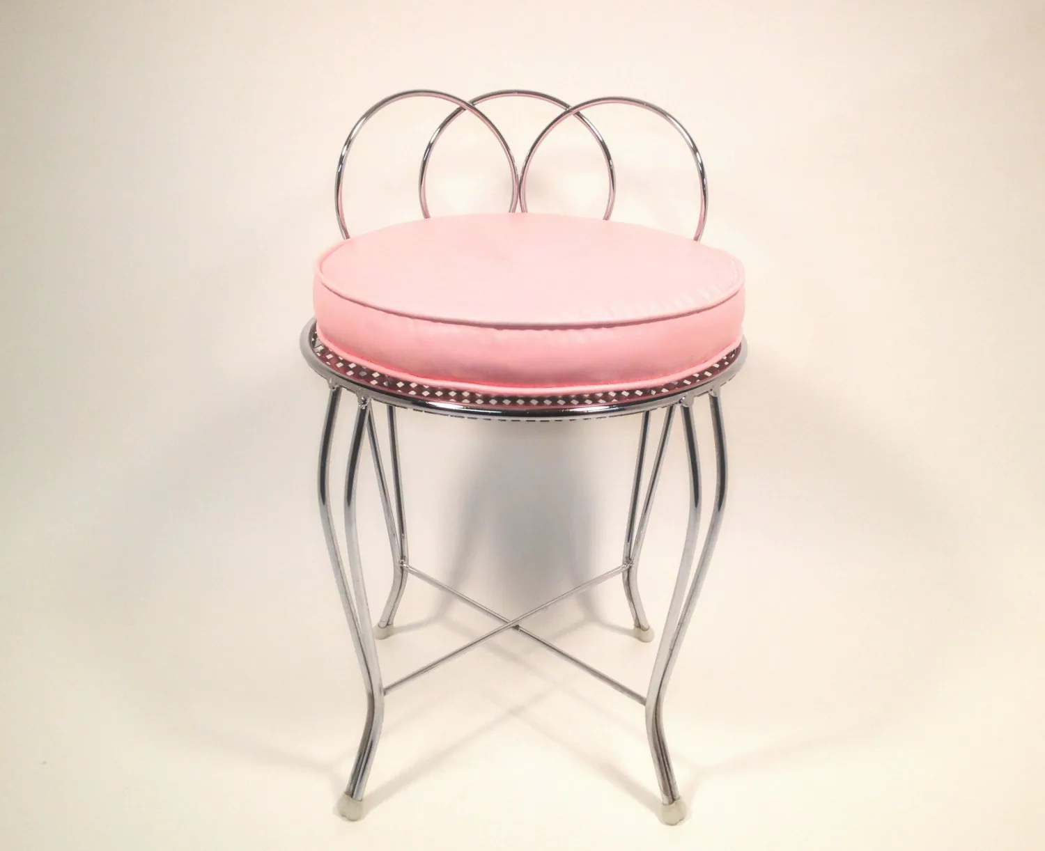 Metal Makeup Vanity Table Set Mid Century Metal Vanity Chair With Pink Cushion Vintage