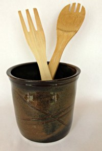 Ceramic Pottery Kitchen Utensil Holder Brown Kitchen Spoon
