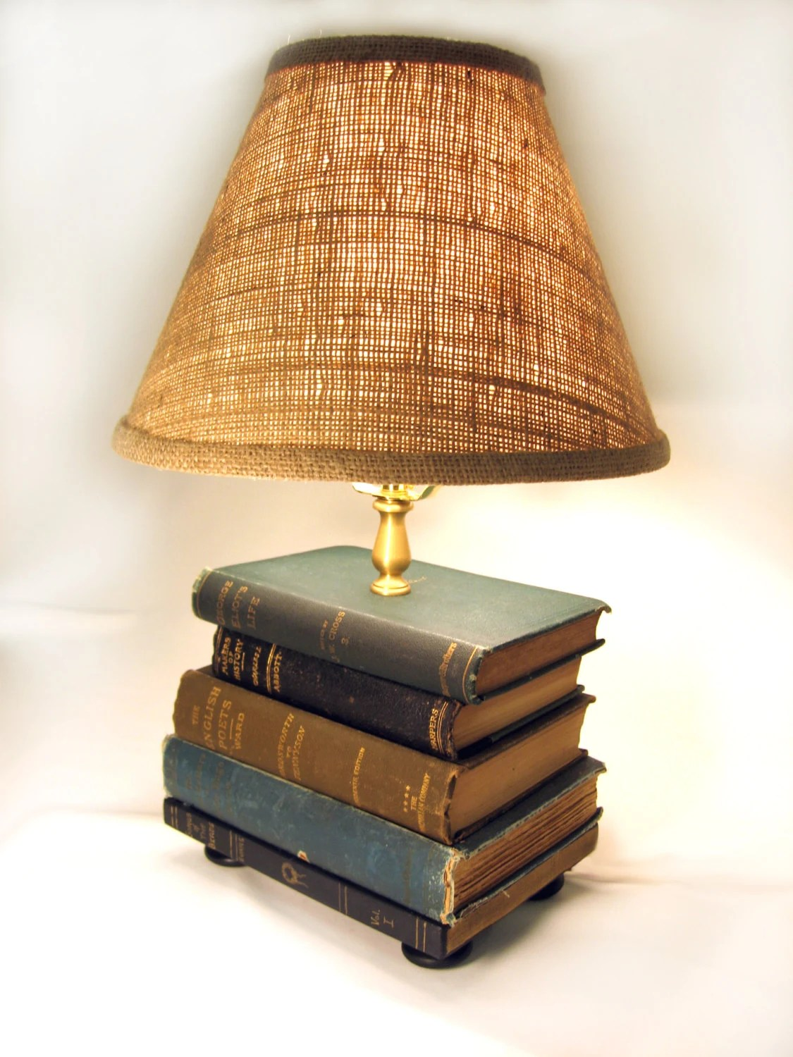 Boog Lamp Book Lamp Antique Upcycled Books Burlap Lamp Shade