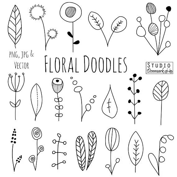 Doodle Flowers Clipart and Vectors Hand Drawn Flower and - white paper format