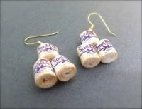 Funny Toilet Paper Roll Earrings. Dangle Earrings. Fun
