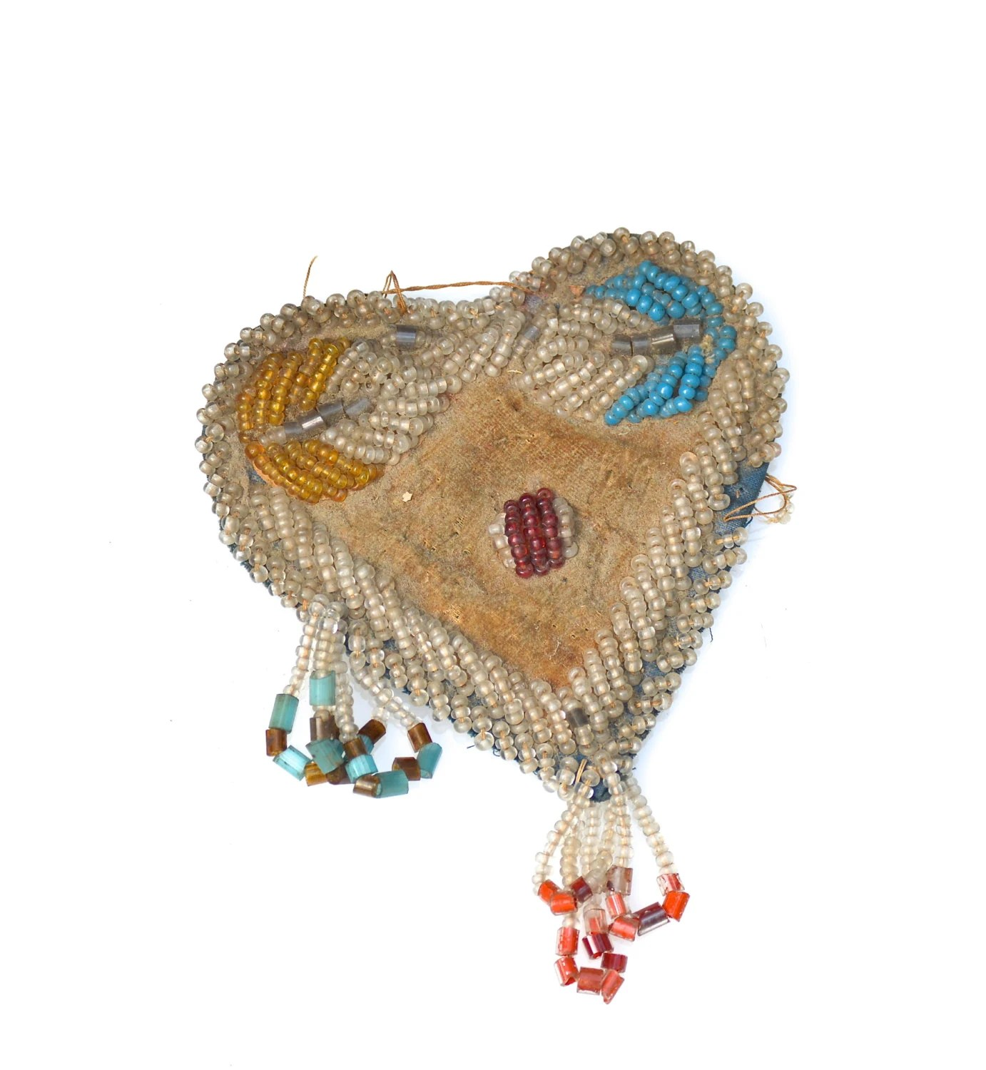 Victorian Iroquois Beaded Heart Shaped Pin Cushion As Is