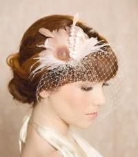 Ivory Blush Bridal Head Piece Feather Fascinator Bridal Hair