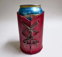 Red leather beverage can holder beer can by WoodBoneAndStone