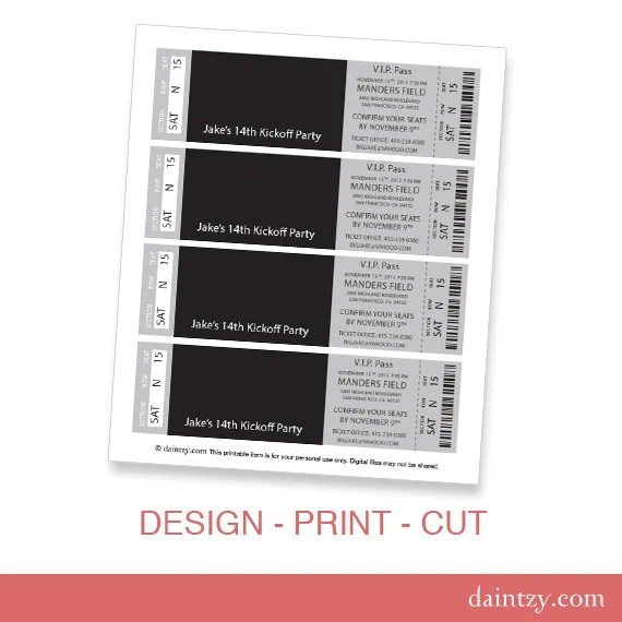 Event Ticket Photo Invitation Template Printable DIY Make - print your own tickets template free