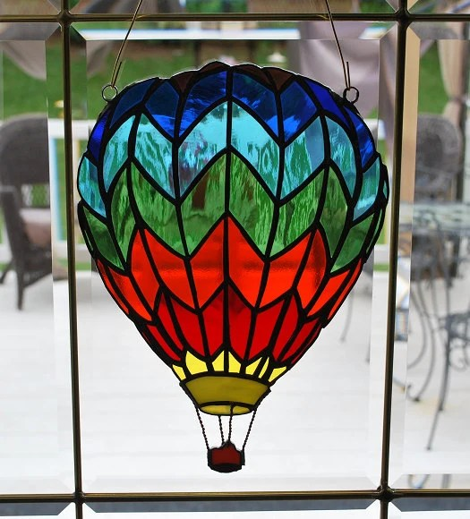 Fenstergestaltung Stained Glass Hot Air Balloon Suncatcher Wall Hanging