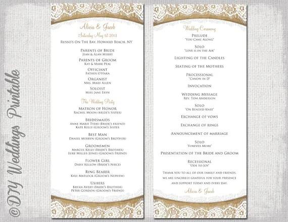 wedding ceremony programs template wedding ceremony programs template