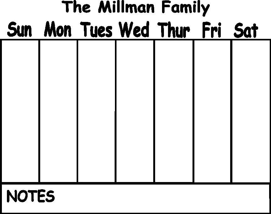 Custom Weekly Calendar Vinyl Decal for Dry Erase board