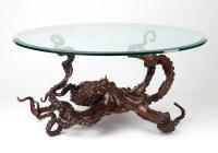 Bronze sculpture octopus coffee table by Kirk McGuire