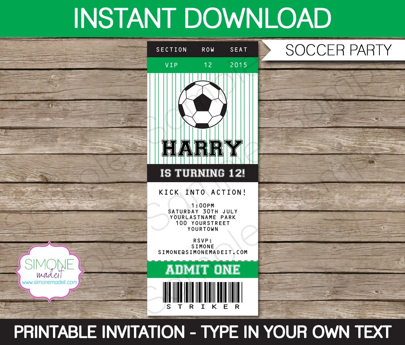 Soccer Ticket Invitation Template - Birthday Party - INSTANT - party ticket template