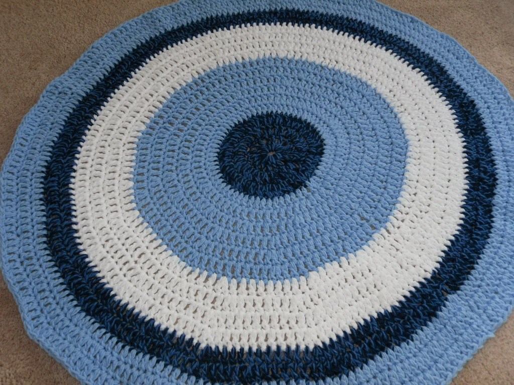 Items Similar To Crochet Doily Rug Blue And White 40 In