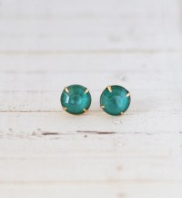 Teal Green Rhinestone Stud Earrings Teal Post by ShopNestled
