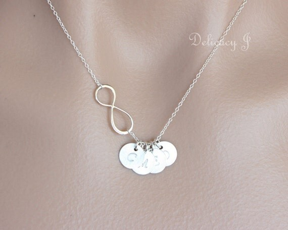 Infinity Necklace And Initial Charms Personalized Necklace
