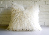 White Shag Pillow Cover Faux Fur Throw Mongolian Lamb