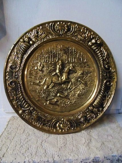 Vintage Large Round Brass Wall Plate Featuring Horse Rider