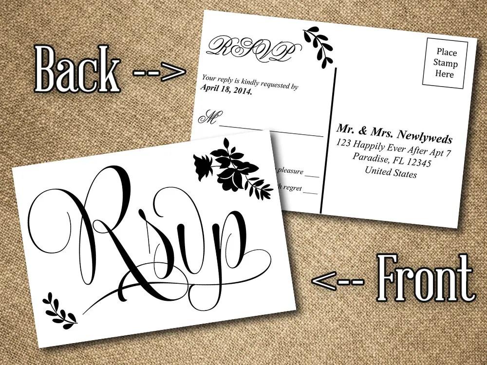 DIY Wedding RSVP Postcard Word Template Vintage Romance - printable postcard template free