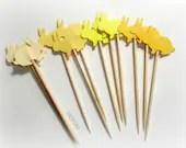 Soft spring sunshine: Mixed Yellow Rabbiit Cupcake Toppers, Food Picks-Set of 24 pcs