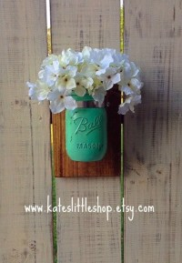 Painted Mason Jar Wall Clamp Sconce. Rustic Home Decor.