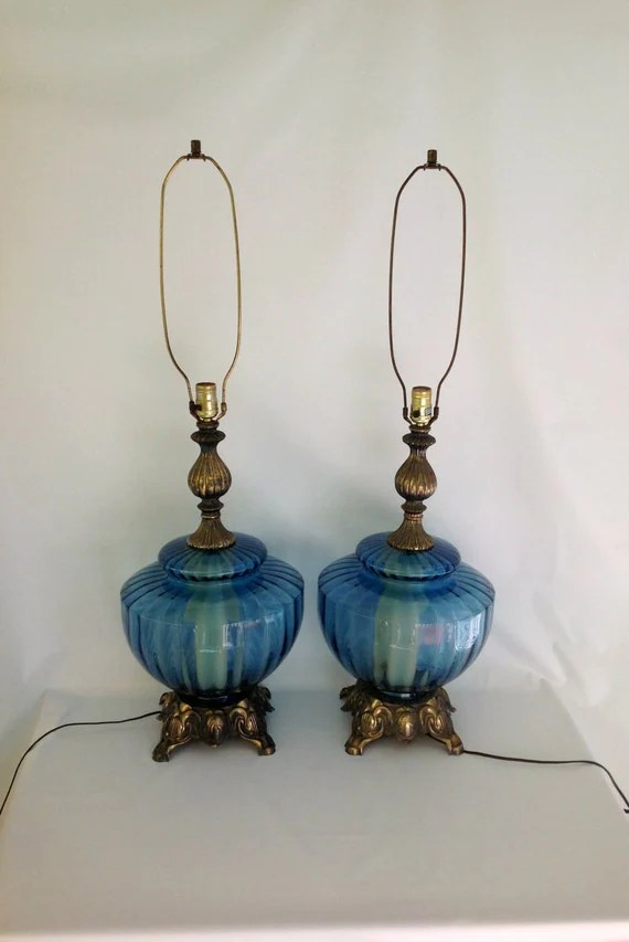 Art Deco Lamp Vintage Pair Of Oversized Mid Century Blue Optic Glass Lamps