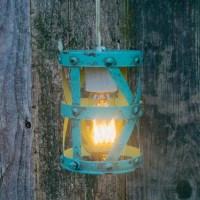 Turquoise Metal Hanging Pendant Lamp with Edison Lightbulb ...