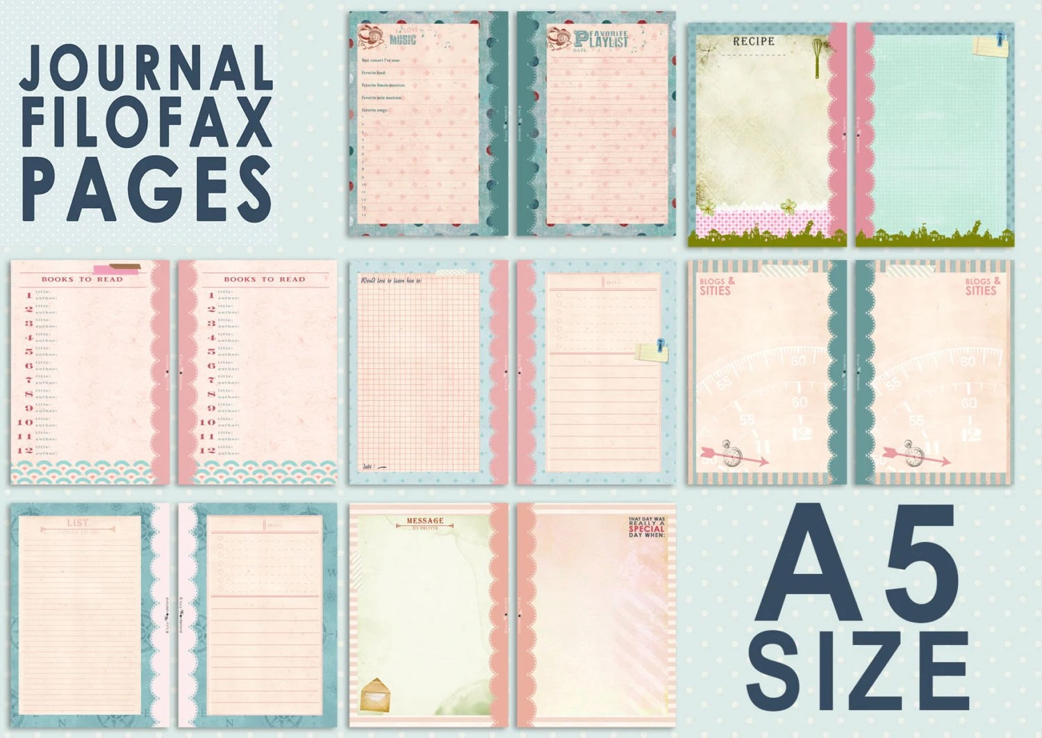 Filofax Personal Einlagen Printable Journal Pages For Filofax A5 Size