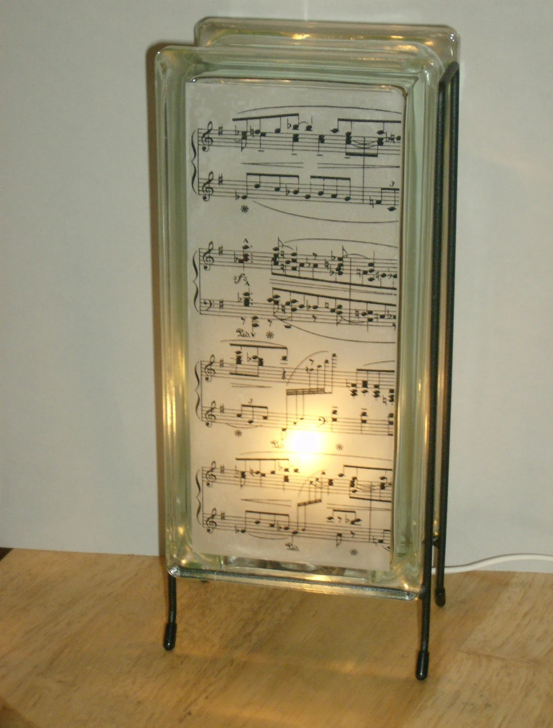 Eco Friendly Night Light Music Score Lamp Upcycled Handmade Glass Block Lamp By