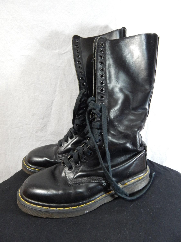 Original Doc Martin 20 Eyelet Black Leather Boots Size 6uk 8us