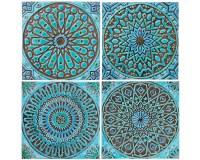 4 Moroccan wall hangings // Ceramic tiles // Wall decor