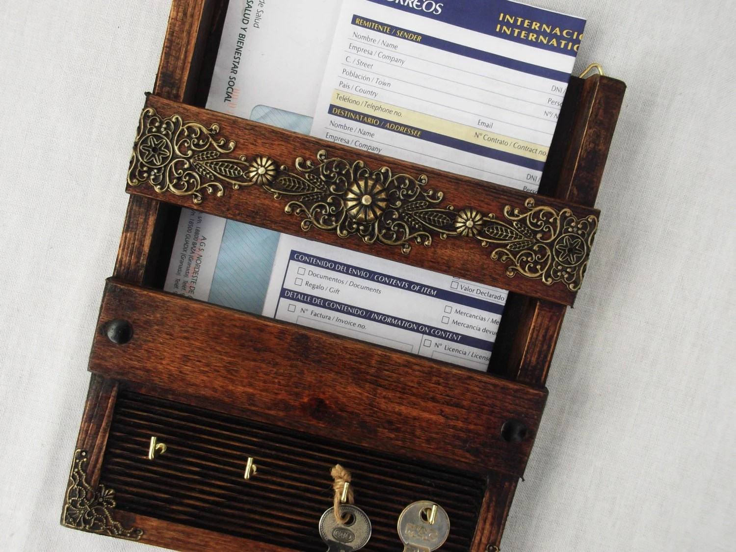 Hanging Mail And Key Organizer Rustic Mail Holder And Key Rack Wall Hanging Handcrafted