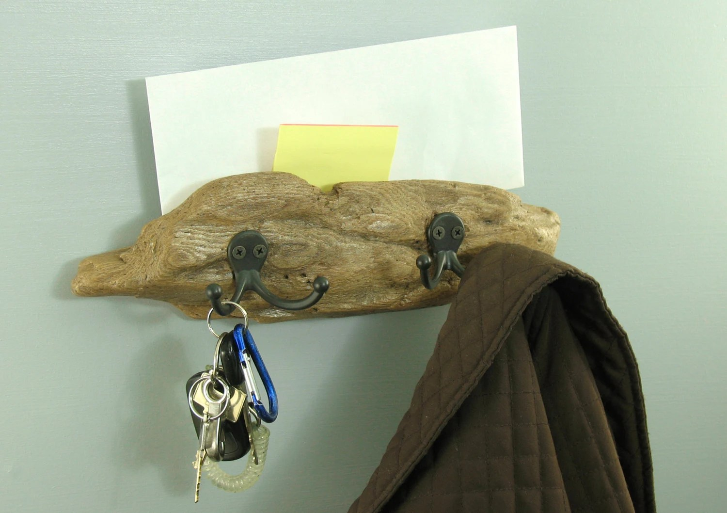 Driftwood Wall Mounted Coat Rack And Key Holder With Shelf For