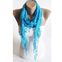 Lace scarf Turquoise scarf scarves Scarf lace scarf by ...