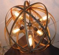 Orb Chandelier Industrial Sphere Metal strap by ...