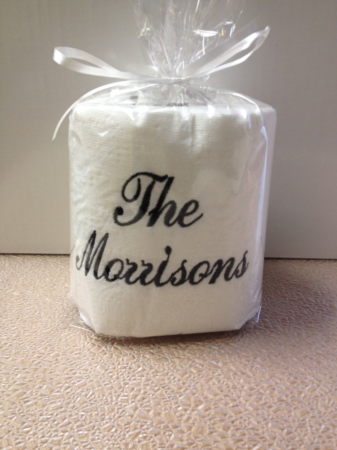 Custom Made Toilet Paper Embroidered Personalized Toilet Paper With Family Name For