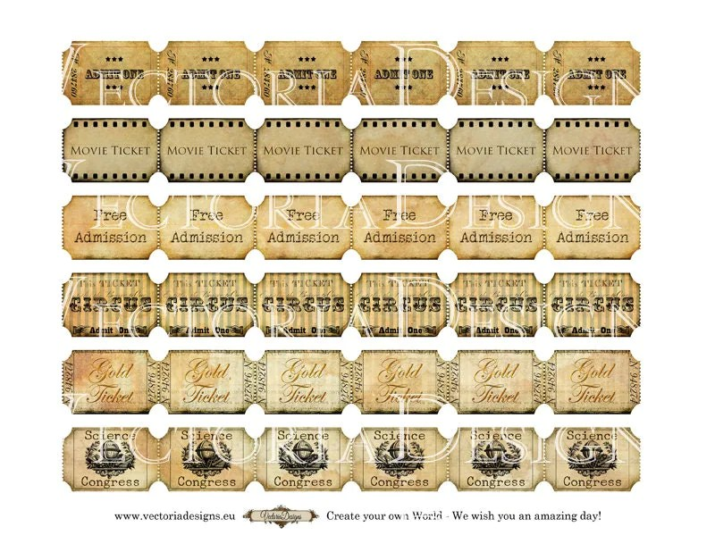 Vintage Tickets Strips instant download printable images digital - create your own movie ticket