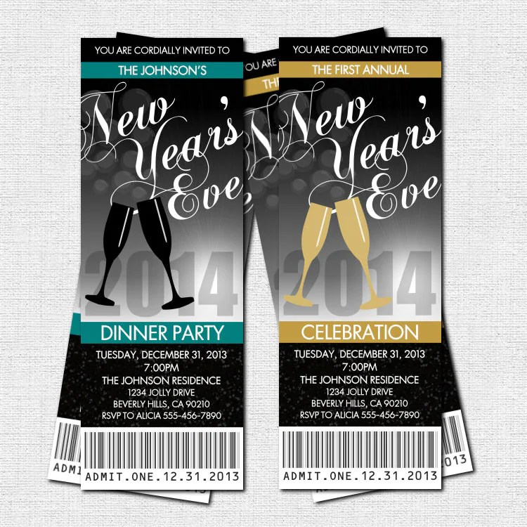NEW YEARu0027S EVE Party Ticket Invitations print your own - print your own tickets template free
