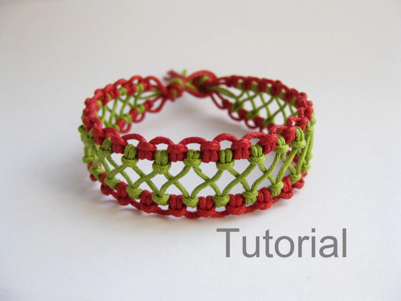 Macrame Bracelet Pattern Instructions Tutorial Pdf Red Green