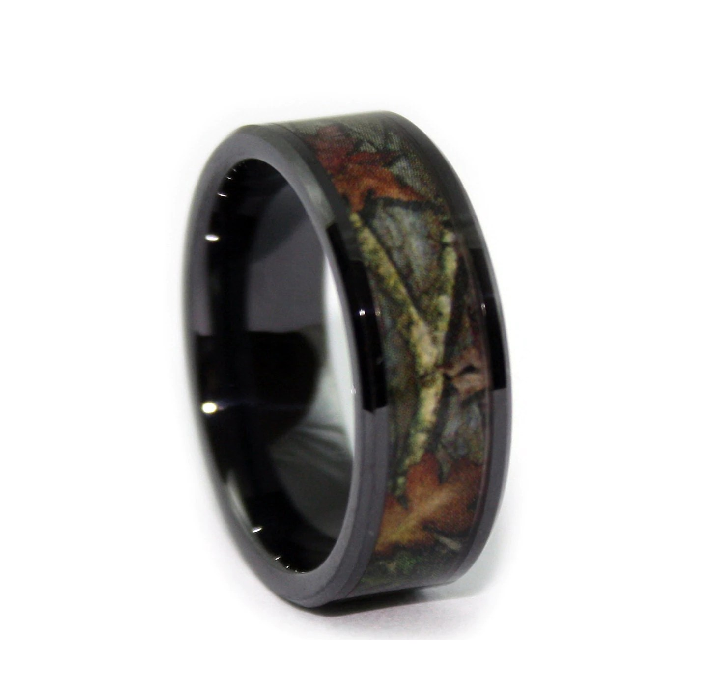 black camo wedding rings by one camo 8mm camo mens wedding bands zoom