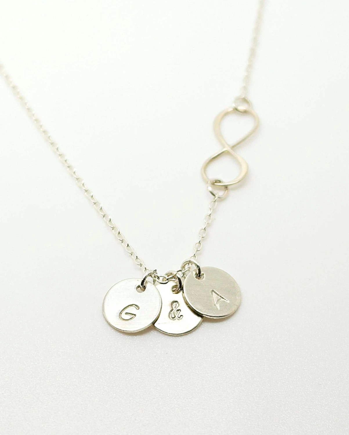 Three Initials Infinity Necklace Birthstone Initial Necklace