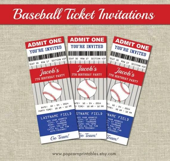 Baseball Ticket Invitations Printables Editable Text PDF - printable ticket invitations