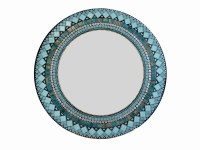 Teal Mosaic Mirror Round Turquoise Silver Black Wall Art