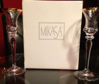 Mikasa Gold and crystal candle stick candle holders