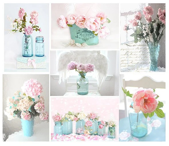 Shabby Chic Floral Print Set Dreamy Pink Aqua Teal Roses - Shabby Chic Tischdeko