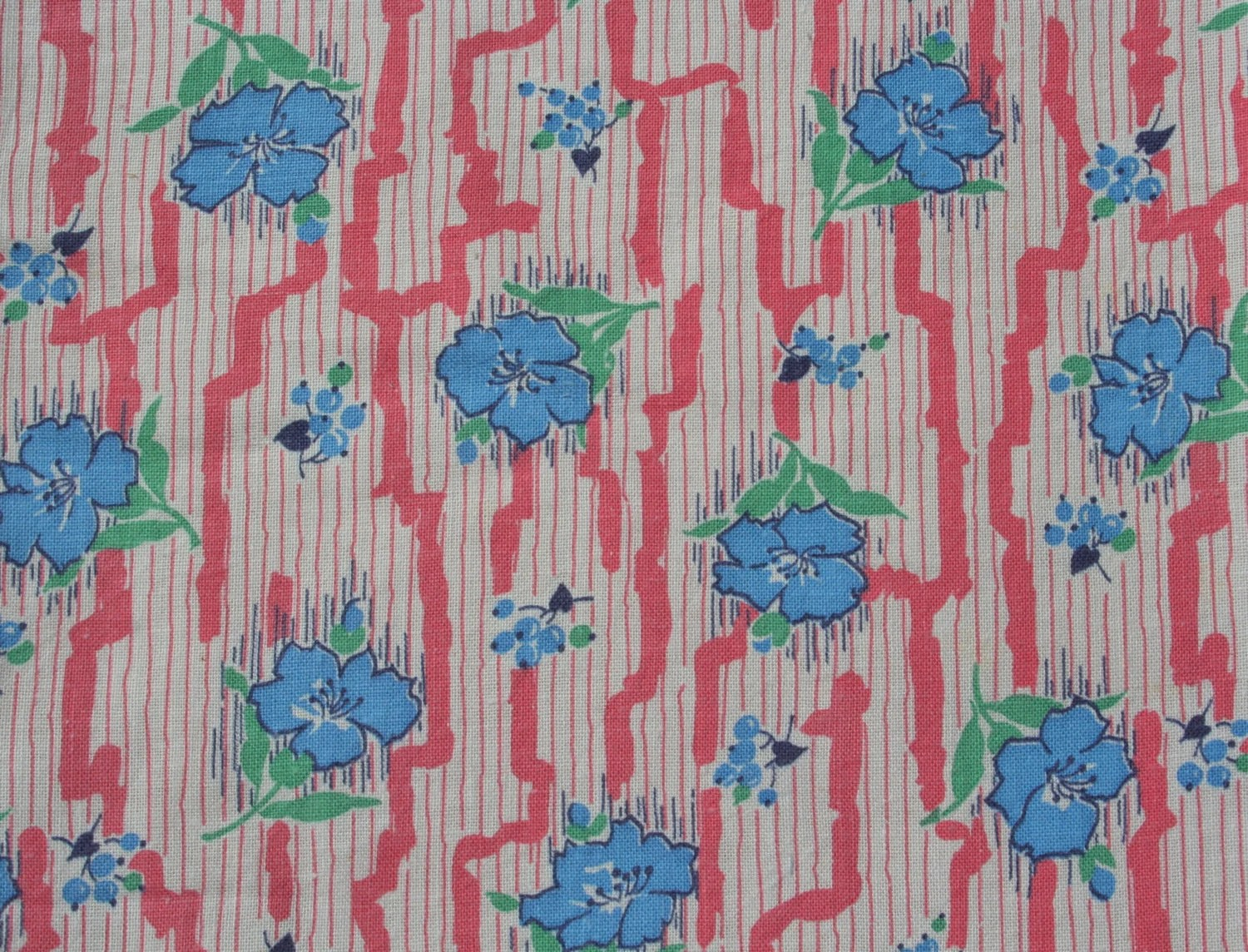 Flour Sack Fabric By The Yard Vintage Feedsack Floral Feed Sack Flour Sack Fabric Blue