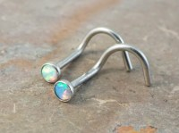 Tiny Nose Stud Fire Opal Corkscrew Nose Ring Stud White Opal