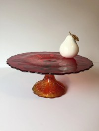 Vintage Red Glass Pedestal Cake Plate Cake Stand Wedding