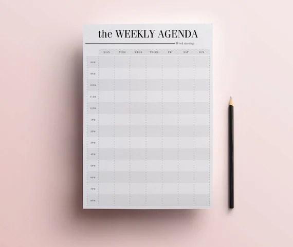 Weekly Agenda Planner Printable Weekly Diary Daily - weekly agenda