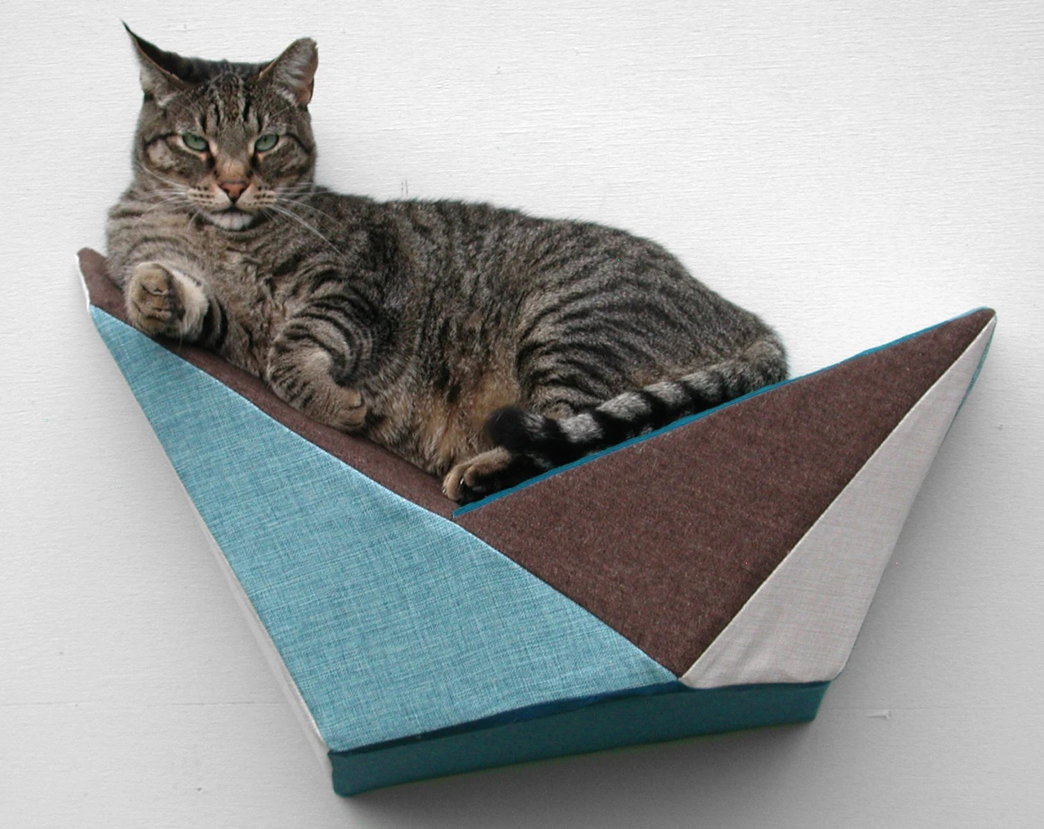 Cat Shelf Wall Bed In Teal Brown Mint Geometric By