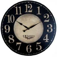 Large Wall Clock 36 inch Port Royal dark black regular