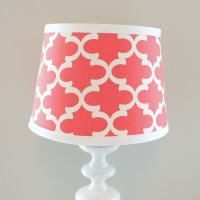 Small White and Coral print lamp shade. Other colors