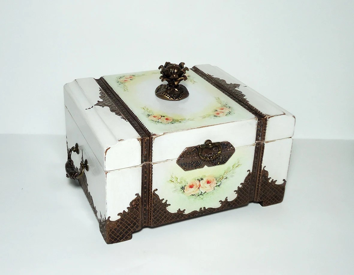 Vintage Style Jewellery Box Antique Jewelry Box Victorian Style Trinket Box Distressed